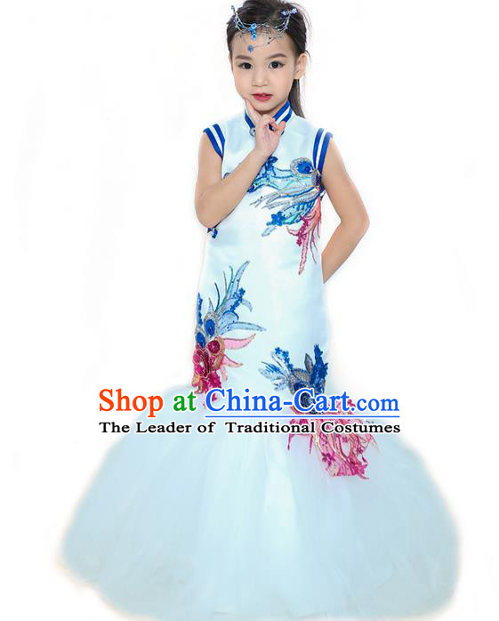 Top Grade Professional Compere Performance China Style Catwalks Costume, Children Chorus Singing Group Cheongsam Full Dress Modern Dance Fishtail Dress for Girls Kids