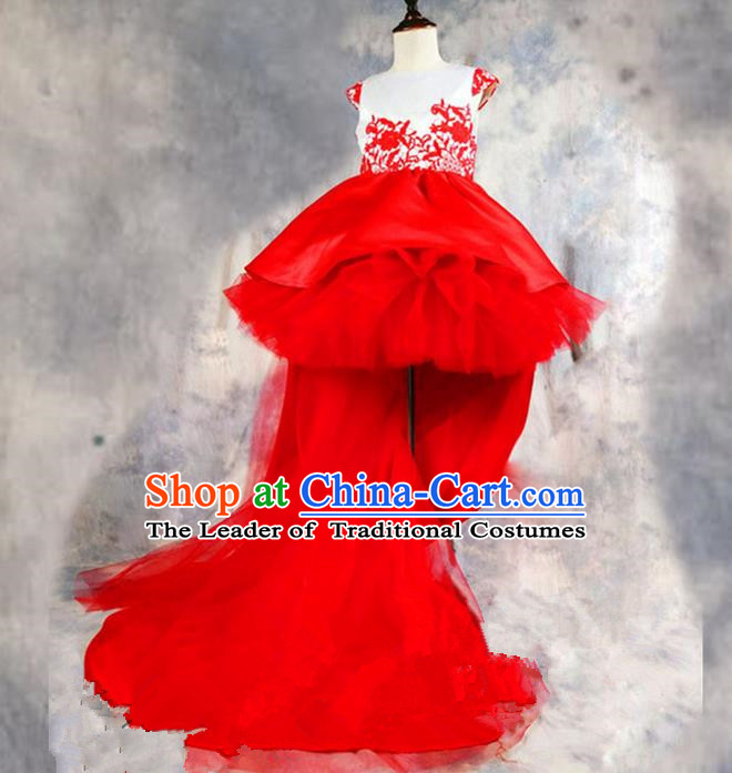 Top Grade Chinese Compere Professional Performance Catwalks Costume, Children Chorus Luxury Red Wedding Bubble Formal Dress Modern Dance Baby Princess Long Trailing Dress for Girls Kids