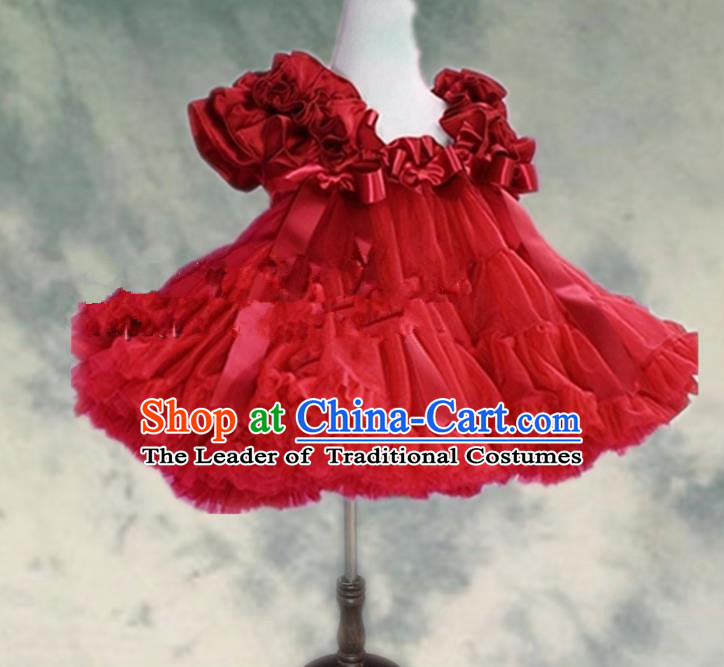 Top Grade Chinese Compere Professional Performance Catwalks Costume, Children Chorus Red Bubble Formal Dress Modern Dance Baby Princess Veil Short Dress for Girls Kids