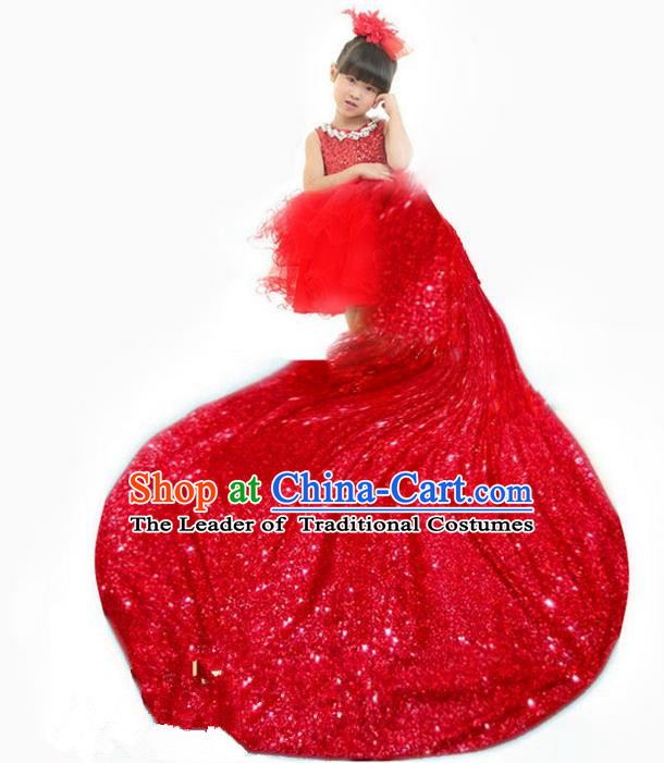 Top Grade Chinese Compere Professional Performance Christmas Catwalks Costume, Children Chorus Luxury Red Wedding Formal Dress Modern Dance Baby Princess Long Trailing Dress for Girls Kids