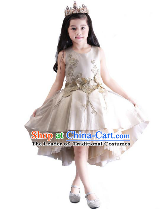Top Grade Compere Professional Performance Catwalks Costume, Children Chorus Champagne Wedding Formal Bubble Dress Modern Dance Baby Princess Ball Gown Short Dress for Girls Kids