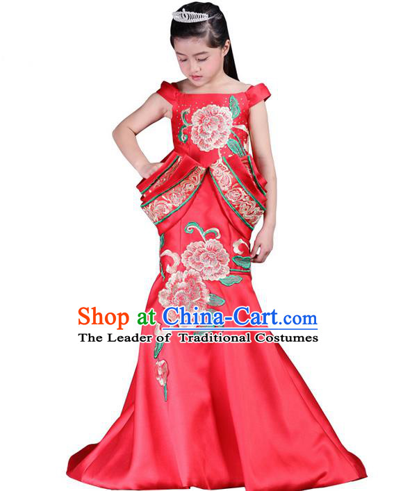 Top Grade Professional Compere Performance China Style Catwalks Costume, Children Chorus Singing Group Red Embroidery Peony Cheongsam Full Dress Modern Dance Fishtail Dress for Girls Kids