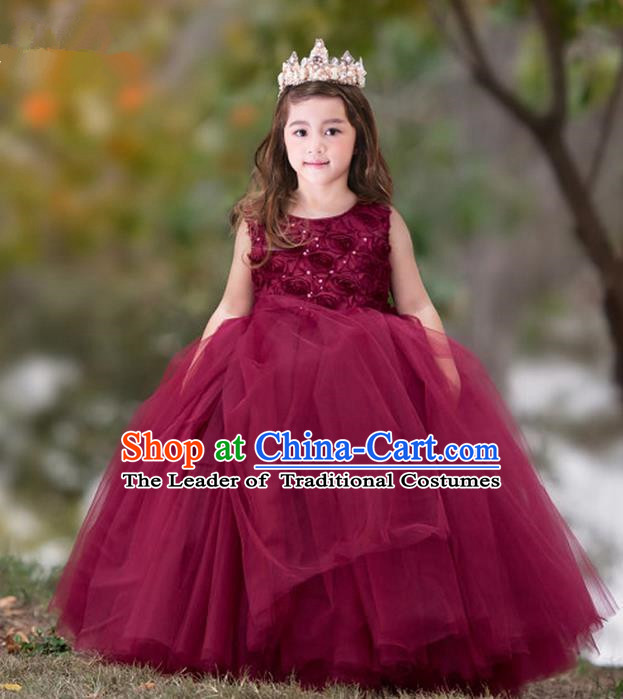Top Grade Compere Professional Performance Catwalks Costume, Children Chorus Flower Fairy Wine Red Big Swing Wedding Veil Embroidery Formal Dress Modern Dance Baby Princess Ball Gown Long Trailing Dress for Girls Kids