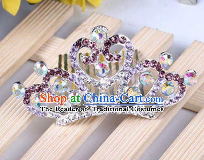 Top Grade Handmade Classical Hair Accessories, Children Baroque Style Purple Crystal Princess Royal Crown Hair Comb Jewellery for Kids Girls