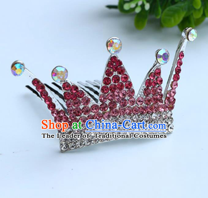 Top Grade Handmade Classical Hair Accessories, Children Baroque Style Red Crystal Baby Princess Royal Crown Twist Inserted Comb Hair Comb Jewellery for Kids Girls