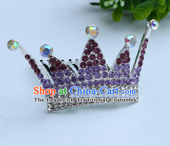 Top Grade Handmade Classical Hair Accessories, Children Baroque Style Purple Crystal Baby Princess Little Royal Crown Twist Inserted Comb Hair Comb Jewellery for Kids Girls