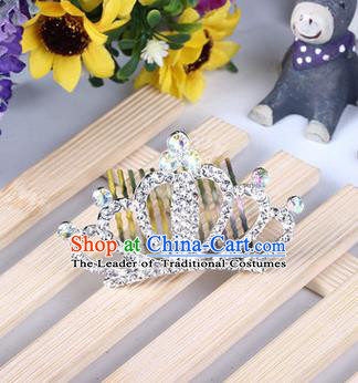 Top Grade Handmade Classical Hair Accessories, Children Baroque Style White Crystal Baby Princess Little Alloy Royal Crown Twist Inserted Comb Hair Comb Jewellery for Kids Girls