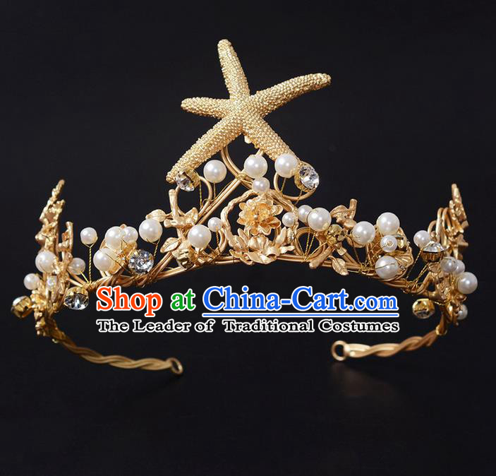 Top Grade Handmade Classical Hair Jewelry Accessories, Children Baroque Style Crystal Baby Princess Starfish Royal Crown Hair Clasp for Kids Girls