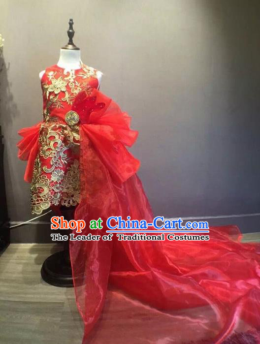 Top Grade Compere Professional Performance Catwalks Costume, Children Chorus China Style Tang Suit Red Bubble Formal Dress Modern Dance Baby Princess Modern Fancywork Long Trailing Dress for Girls Kids