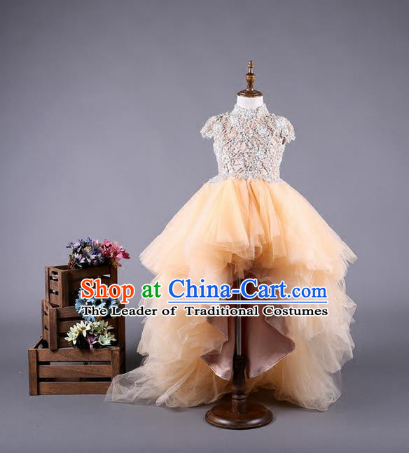 Top Grade Compere Professional Performance Catwalks Costume, Children Chorus Customize Champagne Wedding Bubble Full Dress Modern Dance Baby Princess Modern Fancywork Long Trailing Dress for Girls Kids