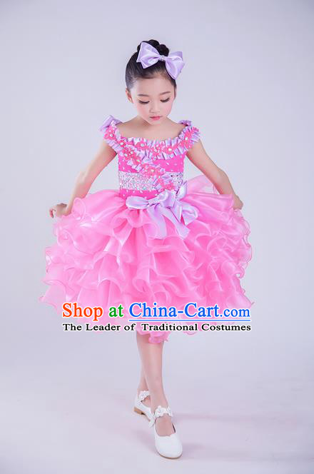 Top Grade Compere Professional Performance Catwalks Costume, Children Chorus Pink Veil Wedding Bubble Full Dress Modern Dance Baby Princess Modern Fancywork Short Ball Gown Dress for Girls Kids