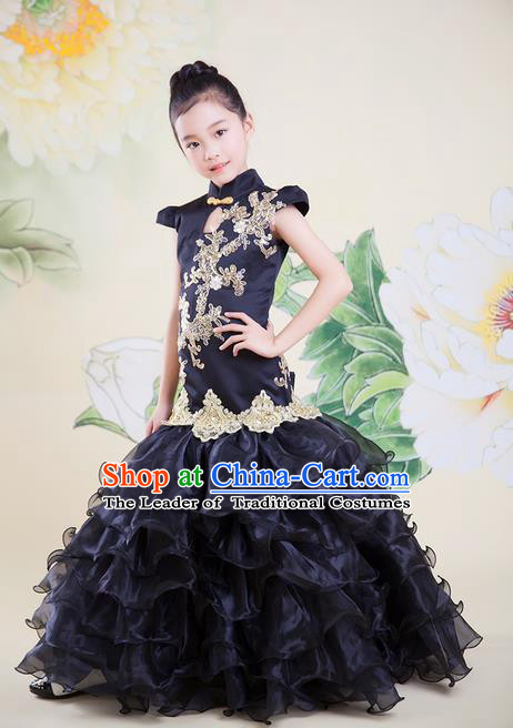 Top Grade Professional Compere Performance China Style Catwalks Costume, Children Chorus Singing Group Black Cheongsam Full Dress Modern Dance Fishtail Dress for Girls Kids