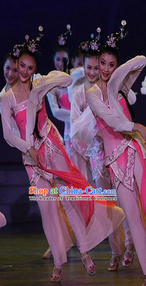 Traditional Chinese Ancient Flying Dance Water-Sleeve Yangge Fan Dancing Pink Dress, Folk Dance Yangko Costume For Women
