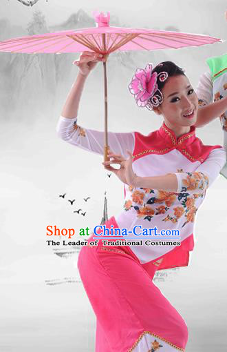 Traditional Chinese Classical Dance Yangge Fan Dancing Umbrella Dance Costume, Folk Dance Drum Dance Uniform Yangko Pink Clothing Complete Set for Women