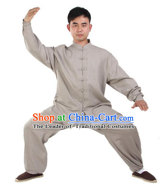 Top Kung Fu Costume Martial Arts Grey Suits Pulian Clothing, Training Costume Tai Ji Uniforms Gongfu Shaolin Wushu Tai Chi Clothing for Men