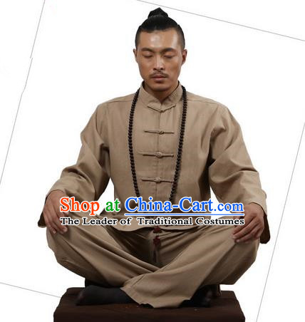 Top Grade Kung Fu Costume Martial Arts Khaki Linen Suits Pulian Zen Clothing, Training Costume Tai Ji Uniforms Gongfu Shaolin Wushu Tai Chi Clothing for Men