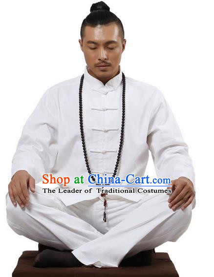 Top Grade Kung Fu Costume Martial Arts White Linen Suits Pulian Zen Clothing, Training Costume Tai Ji Uniforms Gongfu Shaolin Wushu Tai Chi Clothing for Men