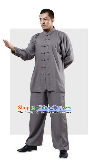 Top Grade Kung Fu Costume Martial Arts Grey Linen Suits Pulian Zen Clothing, Training Costume Tai Ji Uniforms Gongfu Shaolin Wushu Tai Chi Plated Buttons Clothing for Men
