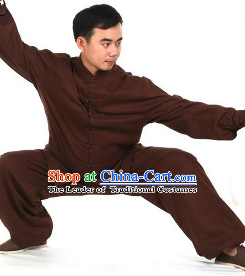 Top Kung Fu Costume Martial Arts Coffee Suits, Training Costume Tai Ji Uniforms Gongfu Pulian Clothing Shaolin Wushu Tai Chi Clothing for Men