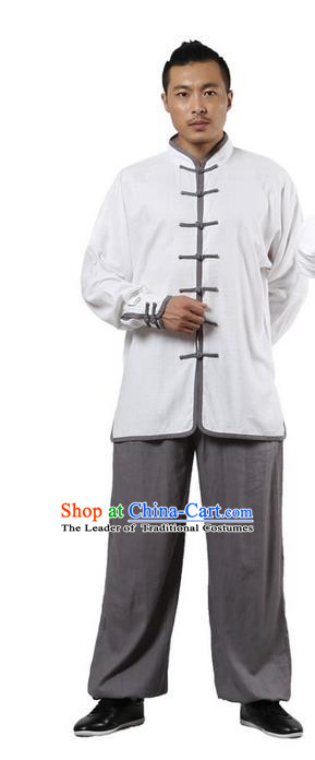 Top Grade Kung Fu Costume Martial Arts White Grey Edge Suits Pulian Zen Clothing, Training Costume Tai Ji Uniforms Gongfu Shaolin Wushu Tai Chi Plated Buttons Clothing for Men
