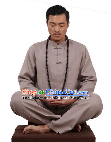 Top Grade Kung Fu Costume Martial Arts Grey Ice Silk Linen Suits Pulian Zen Clothing, Training Costume Tai Ji Uniforms Gongfu Shaolin Wushu Tai Chi Plated Buttons Clothing for Men