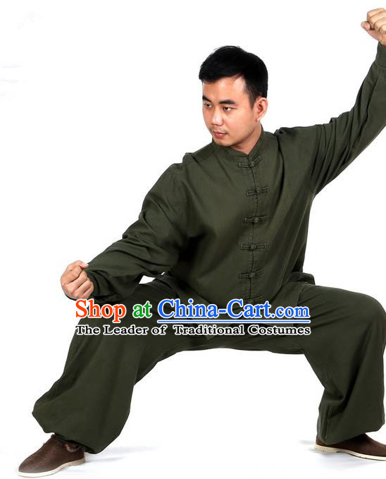 Top Kung Fu Costume Martial Arts Atrovirens Suits, Training Costume Tai Ji Uniforms Pulian Clothing Gongfu Shaolin Wushu Tai Chi Clothing for Men