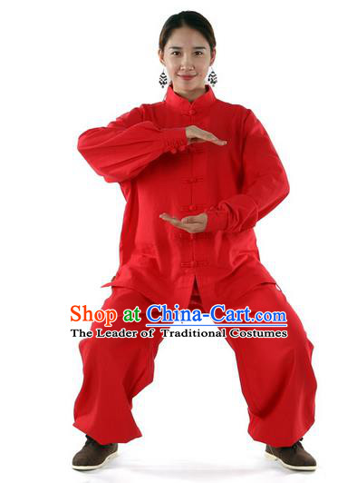 Top Kung Fu Costume Pulian Clothing Martial Arts Red Linen Suits, Training Costume Tai Ji Uniforms Gongfu Shaolin Wushu Tai Chi Clothing for Women