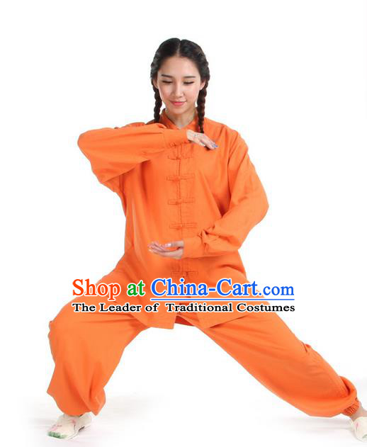 Top Kung Fu Costume Pulian Clothing Martial Arts Army Orange Linen Suits, Training Costume Tai Ji Uniforms Gongfu Shaolin Wushu Tai Chi Clothing for Women