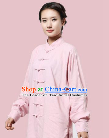 Top Grade Kung Fu Costume Martial Arts Pink Linen Suits Pulian Zen Clothing, Training Costume Tai Ji Uniforms Gongfu Shaolin Wushu Tai Chi Plated Buttons Clothing for Women