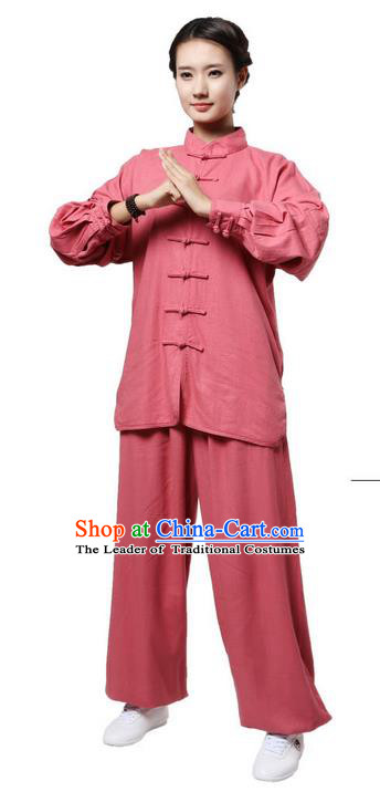 Top Grade Kung Fu Costume Martial Arts Dark Pink Linen Suits Pulian Zen Clothing, Training Costume Tai Ji Uniforms Gongfu Shaolin Wushu Tai Chi Plated Buttons Clothing for Women
