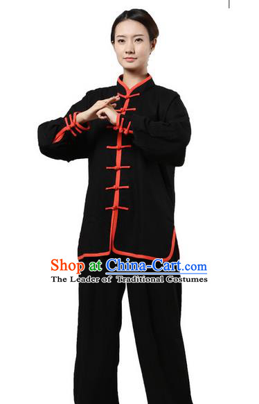 Top Grade Kung Fu Costume Martial Arts Black Red Edge Suits Pulian Zen Clothing, Training Costume Tai Ji Uniforms Gongfu Shaolin Wushu Tai Chi Plated Buttons Clothing for Women