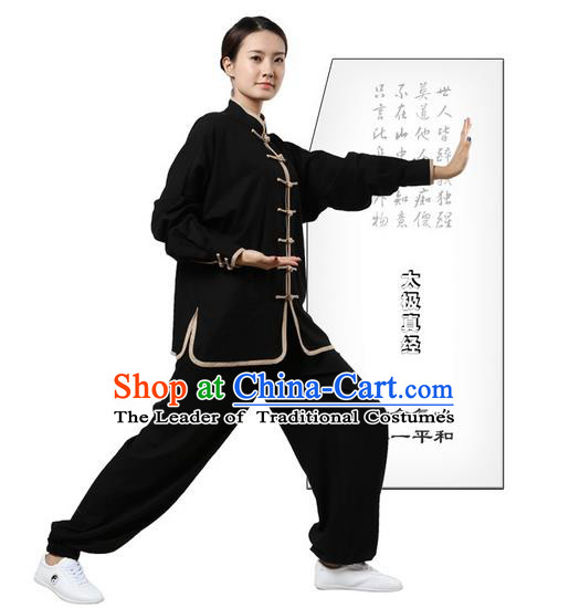 Top Grade Kung Fu Costume Martial Arts Black Grey Edge Suits Pulian Zen Clothing, Training Costume Tai Ji Uniforms Gongfu Shaolin Wushu Tai Chi Plated Buttons Clothing for Women