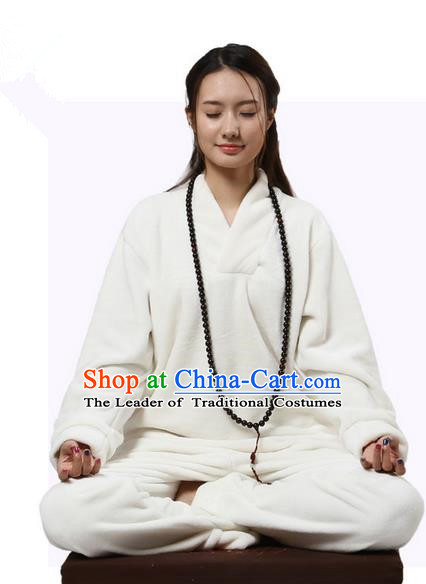 Top Grade Kung Fu Costume Martial Arts Thicken Flannel White Cloak Suits Pulian Zen Clothing, Training Costume Tai Ji Uniforms Gongfu Shaolin Wushu Tai Chi Clothing for Women