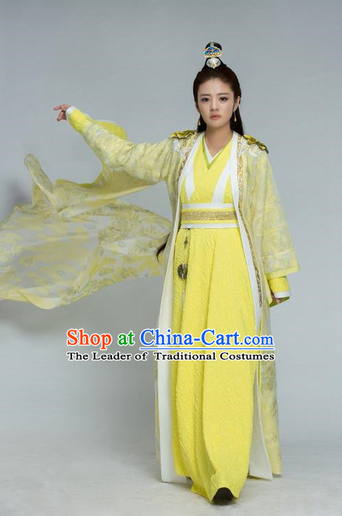 Traditional Chinese Ancient Swordswoman Costume and Headpiece Complete Set, Chinese Northern and Southern Dynasties Television Tokgo World Heroine Hanfu Dress Clothing for Women