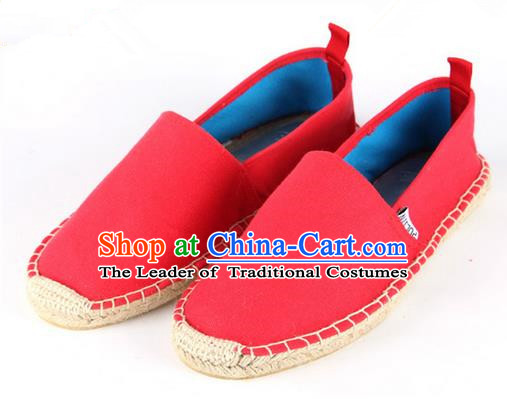 Top Grade Kung Fu Martial Arts Shoes Pulian Shoes, Chinese Traditional Tai Chi Linen Red Shoes Monk Straw Cloth Shoes for Women for Men