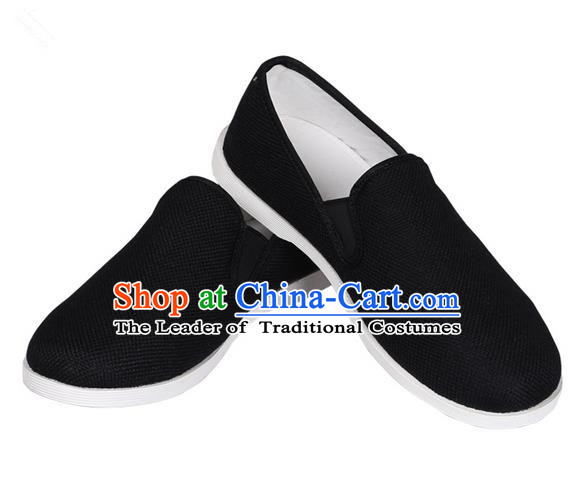Top Grade Kung Fu Martial Arts Shoes Pulian Shoes, Chinese Traditional Tai Chi Linen Black Shoes Cloth Zen Shoes for Women for Men