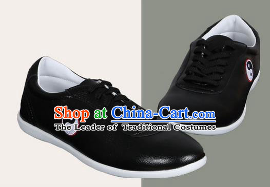 Top Grade Kung Fu Martial Arts Shoes Pulian Shoes, Chinese Traditional Tai Chi Imitation Leather Black Shoes for Women for Men