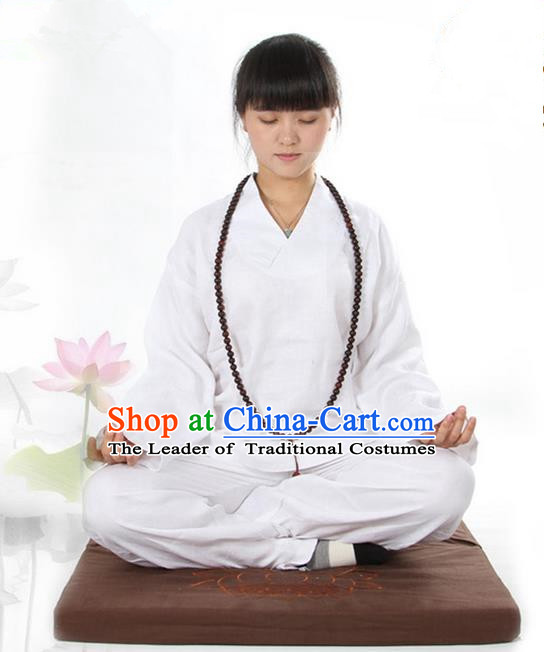 Top Grade Kung Fu Costume Martial Arts Linen Meditation Suits Pulian Zen Clothing, Training Costume Tai Ji White Uniforms Gongfu Shaolin Wushu Tai Chi Clothing for Women