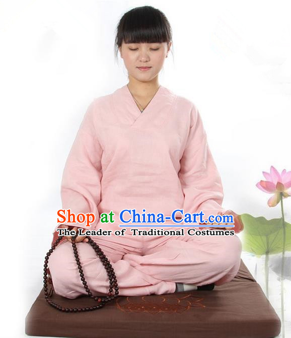 Top Grade Kung Fu Costume Martial Arts Linen Meditation Suits Pulian Zen Clothing, Training Costume Tai Ji Pink Uniforms Gongfu Shaolin Wushu Tai Chi Clothing for Women