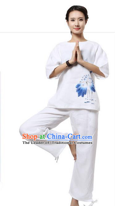 Top Grade Kung Fu Costume Martial Arts White Painting Lotus Linen Suits Pulian Zen Clothing, Training Costume Tai Ji Meditation Uniforms Gongfu Shaolin Wushu Tai Chi Plated Buttons Clothing for Women
