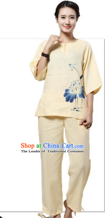 Top Grade Kung Fu Costume Martial Arts Light Yellow Painting Lotus Linen Suits Pulian Zen Clothing, Training Costume Tai Ji Meditation Uniforms Gongfu Shaolin Wushu Tai Chi Plated Buttons Clothing for Women
