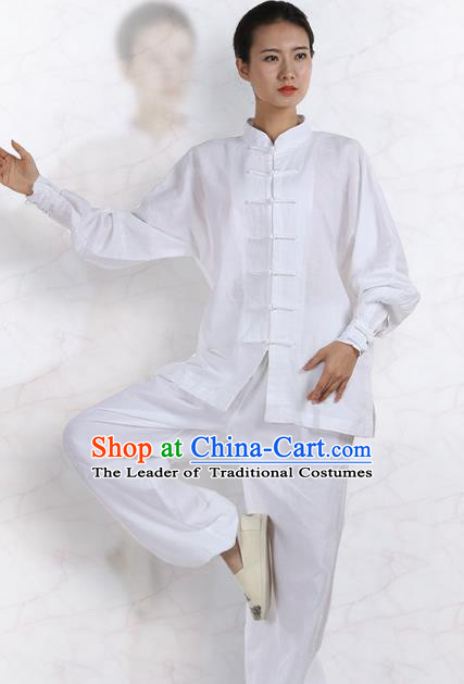 Top Grade Kung Fu Costume Martial Arts White Linen Suits Pulian Zen Clothing, Training Costume Tai Ji Meditation Uniforms Gongfu Wushu Tai Chi Plated Buttons Clothing for Women