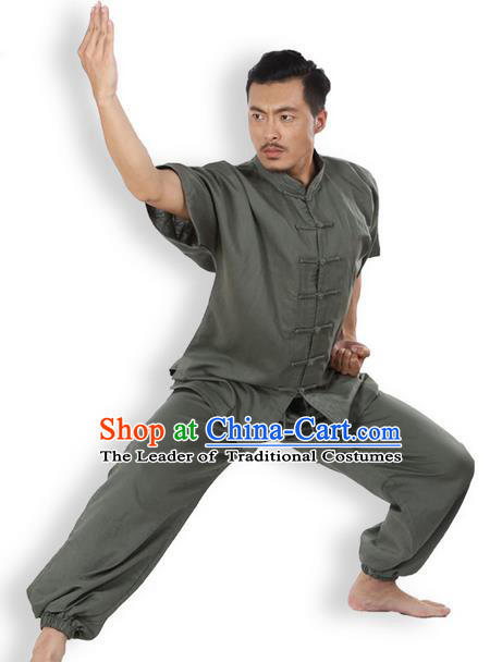 Top Grade Kung Fu Costume Martial Arts Army Green Linen Suits Pulian Zen Clothing, Training Costume Tai Ji Meditation Uniforms Gongfu Wushu Tai Chi Short Sleeve Clothing for Men