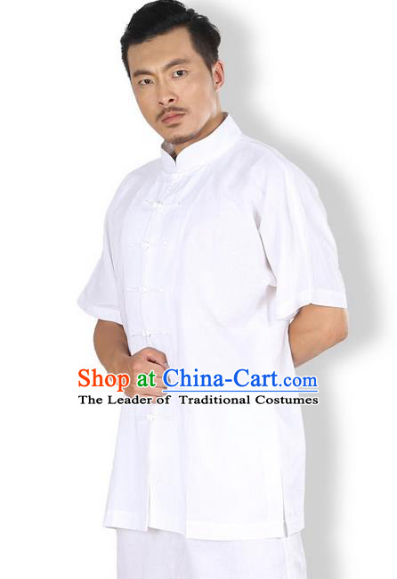 Top Grade Kung Fu Costume Martial Arts White Linen Suits Pulian Zen Clothing, Training Costume Tai Ji Meditation Uniforms Gongfu Wushu Tai Chi Short Sleeve Clothing for Men