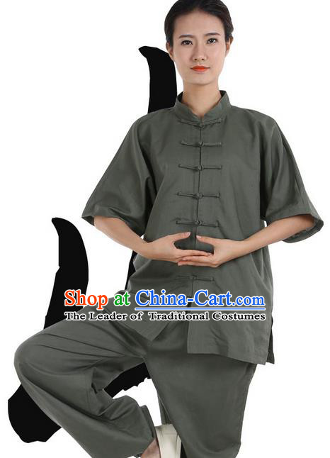 Top Grade Kung Fu Costume Martial Arts Army Green Linen Suits Pulian Zen Clothing, Training Costume Tai Ji Meditation Uniforms Gongfu Wushu Tai Chi Short Sleeve Clothing for Women