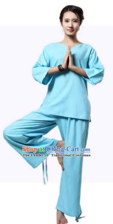 Top Grade Kung Fu Costume Martial Arts Blue Linen Suits Pulian Clothing, Zen Costume Tai Ji Meditation Uniforms Wushu Tai Chi Short Sleeve Clothing for Women