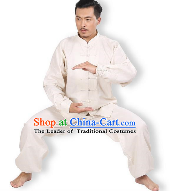 Top Grade Kung Fu Costume Martial Arts Beige Linen Suits Pulian Zen Clothing, Training Costume Tai Ji Meditation Uniforms Gongfu Wushu Tai Chi Plated Buttons Clothing for Men