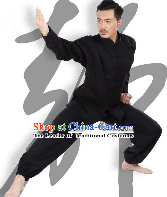 Top Grade Kung Fu Costume Martial Arts Black Linen Suits Pulian Zen Clothing, Training Costume Tai Ji Meditation Uniforms Gongfu Wushu Tai Chi Plated Buttons Clothing for Men
