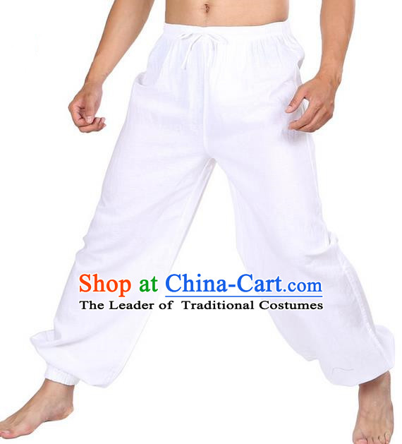 Top Grade Kung Fu Costume Martial Arts White Linen Pants Pulian Zen Clothing, Training Bloomers Gongfu Meditation Trousers Shaolin Wushu Tai Chi Plus Fours for Men