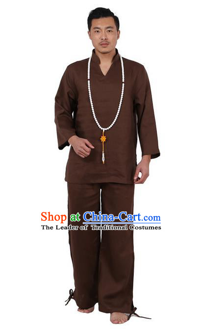 Traditional Chinese Kung Fu Costume Martial Arts Coffee Linen Training Suits Pulian Clothing, Tai Ji Meditation Uniforms Gongfu Wushu Tai Chi Clothing for Men